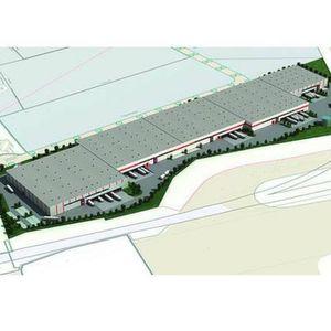 Noch existiert das Logistikzentrum nur als Skizze. Bis Ende 2011 sollen alle Hallen stehen. Bild: Simon Hegele
