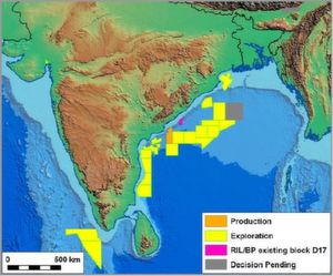 Map of deal interests – BP and Reliance entered a strategic alliance to join their forces on India's oil and gas markets in summer 2011. Furthermore, BP acquired a 30 percent stake in 21 oil and gas production sharing contracts of Reliance in India, including the producing KG D6 block. (Picture: PROCESS India)