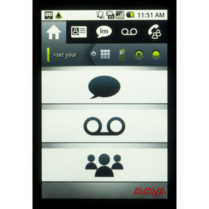 Startansicht des Avaya one-X Mobile Preferred für IP Office: Schnellzugang zu Instant Messaging (oben), Voicemail (mitte) und Conferencing (unten).