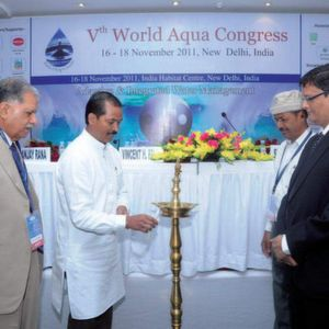 (LtoR) Dr. D. K. Chadha, Ex-Chairman CGWA; V. H. Pala, Minister of Water Resources & Minority Affairs (GOI); S. Dhabai, Chief Functionary of CRDC; and S. Sethi, MD, Subhash Projects and Marketing (Picture: PROCESS India)