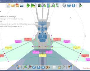 Die neue Version von EMM-Check ermöglicht nun auch die Sichtfeldanalyse von selbstfahrenden Arbeitsmaschinen und die Berechnung von Kamerasichtfeldern. (Bild: ReKnow)