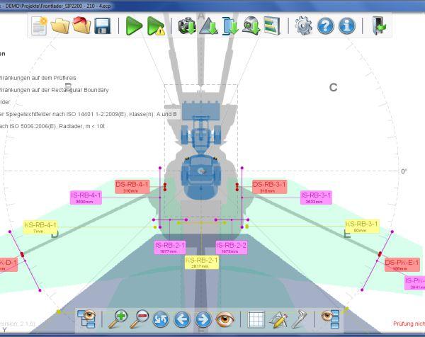 Die neue Version von EMM-Check ermöglicht nun auch die Sichtfeldanalyse von selbstfahrenden Arbeitsmaschinen und die Berechnung
