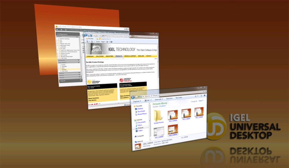 Die Windows-basierten Igel-Modelle beinhalten seit Ende 2011 den Software-Client für VMware View 5. Das ermöglichst eine 3D- und Aero-Darstellung über Wide Area Networks.