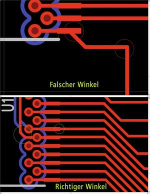 Bild 2: Korrekter und falscher Winkel einer Leiterbahn im PCB-Design