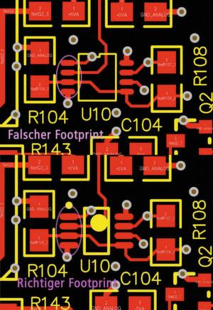 Bild 3: Richtiger und umgekehrter Footprint im PCB-Design