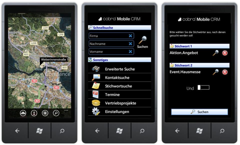 Nutzer von Mobiltelefonen mit Windows-Betriebssystem müssen in nichts nachstehen: Mit Cobra Mobile Windows Phone 7 können sie ihr CRM-System auch von unterwegs auf dem neuesten Stand halten.