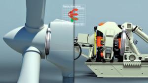 Die jeweils vier hydraulisch betriebenen Radial- beziehungsweise Axialzylinder (rechte Bildhälfte) erzeugen die realen Lasten und Momente, die in einer Windkraftanlage auftreten. Dabei simulieren die Radialzylinder das Gewicht einer Rotornabe mit Rotorblättern, die Axialzylinder generieren die Windlasten.