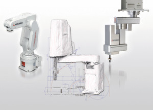 Die Scara-Roboter von Mitsubishi bekommen Zuwachs: Ab Mai wird die neue F-Serie erhältlich sein, die auf der Hannover-Messe Europapremiere feiert. Bild: Mitsubishi