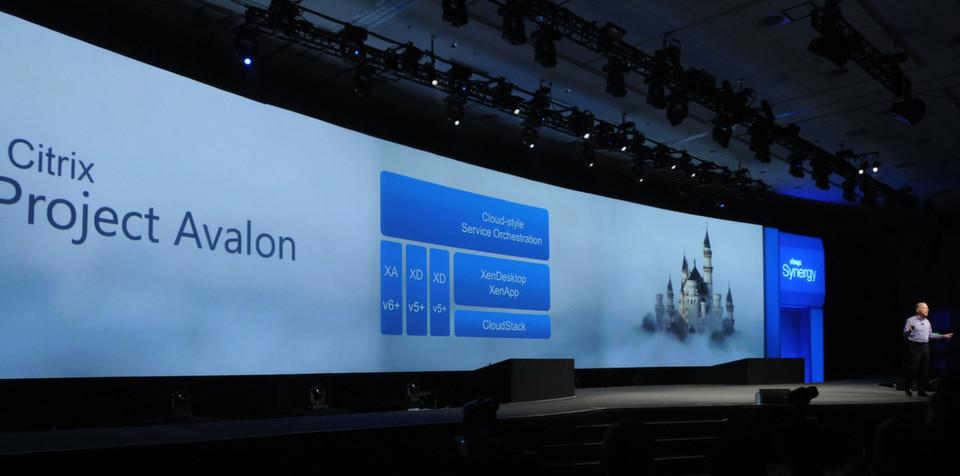 """Auf der Citrix-Hausmesse """"Synergy 2012"""" stellt der Unternehmenschef Mark Templeton das Projekt """"Avalon"""" vor; mit Hilfe entsprechender Produkte soll es möglich sein, Windows-Anwendungen und Desktops als Service bereitszustellen und zu beziehen."""