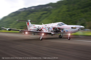 Der Pilatus PC-12 NG bringt das Sauber Team direkt an die Rennstrecken Europas.