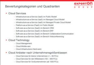 """Nach 15 Kriterien wurden 109 """"relevante"""" Cloud-Services und -Infrastruktur-Anbieter bewertet. Die Kategorie """"Cloud-Integration und Beratung"""" fehlt auf dieser Folie."""