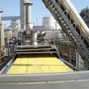 A proud two metres is the width measurement of a typical cooling belt for sulphur.