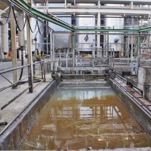 View of an oil and fat separator. The influent water is warm and contains a high load of mainly oils and fats.
