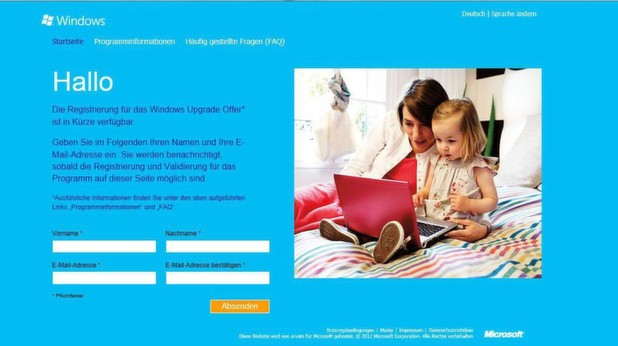 Auf der Upgradeoffer-Internetseite knnen sich Windows-7-User fr den Wechsel auf Windows 8 anmelden.