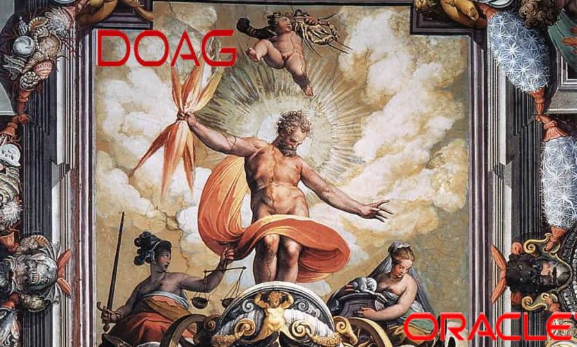 Die Doag feuert Blitze auf Oracle - das Gemälde ist ein Fresko aus dem Palazzo Ruspoli in Rom und Zeigt einen zornigen Zeus.