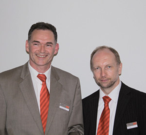 """We now offer a motor which conforms to a broad range of worldwide explosion protection regulations"". Gregor Dietz (right) and Uwe Stadtmüller, SEW-Eurodrive."