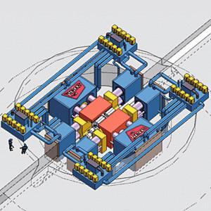 Zur partiellen Warmumformung von Großkurbelwellen wurde diese Anlage mit 18 Presszylindern konzipiert (Simulation). Die Summenpresskraft beträgt 290.000 kN. Servopumpen steuern die Zylinder.
