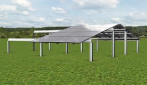 Virtuelle Darstellung des leicht bauenden Schnellmontagesystems BKB-Solar- Profil zum einfachen und kostensparenden Aufbau von Solaranlagen.