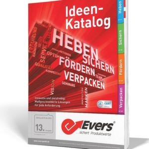 Im neuen Idee-Katalog von Evers sind auf 570 Seiten innovative Qualitätsprodukte aus den Bereichen Heben, Sichern, Fördern und Verpacken enthalten.