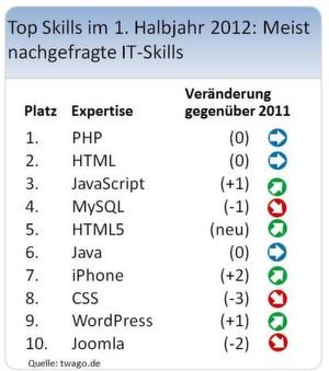 Top-10 der IT-Skills laut Twago.