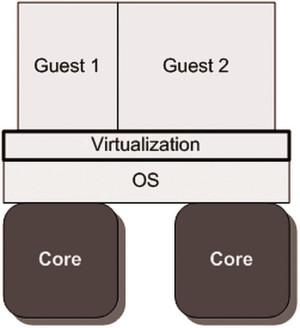 Bild 1: Virtualisierungsschicht als Host, der Daten und Dienste für die Gäste bereitstellt