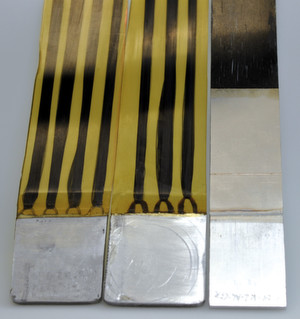 Zur Veranschaulichung stoffschlüssiger Verbindungskonzepte wurden Handmuster hergestellt (v.l.n.r.): das Drahtkonzept (Hersteller Fraunhofer IFAM und Fibre), das Faserkonzept (Fraunhofer IFAM und Fibre) und das Folienkonzept (BIAS und Fibre).