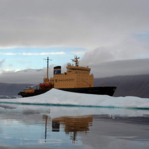 Russian icebreaker Kapitan Khlebnikov in the Arctic. As the cuntry's domestic oil and gas reserves are depleting, Russian companies eye for the untouched North...