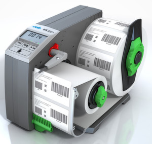 Der Etikettenspender VS120 Plus verfügt über zusätzliche Hilfen für den Bediener, beispielsweise einen mitlaufenden vierstelligen Zähler.