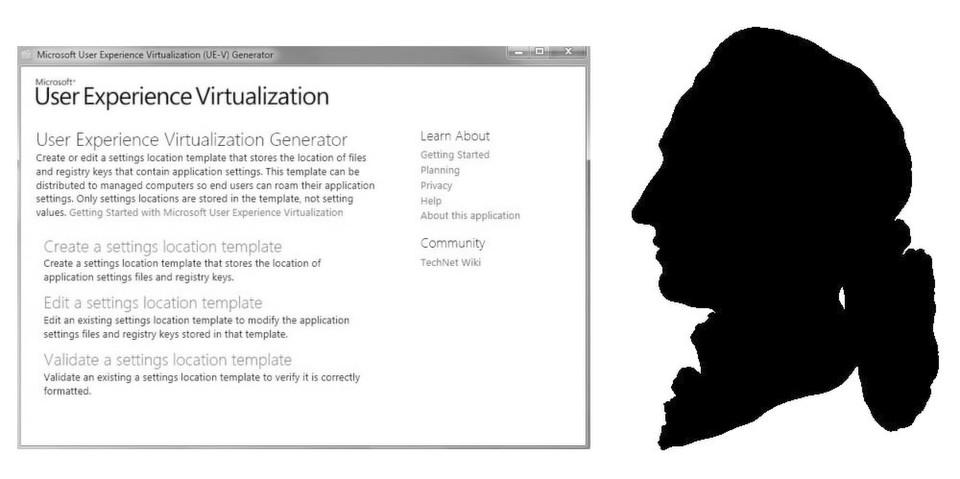 Damit Profile markant bleiben: User Experianece Virtualization (U-EV)von Microsoft (Der Schatttenriss von Goethe daneben ist um 1775 oder wenig später entstanden. Das Original aus schwarz hinterlegtem weißen Papier wird in der Stiftung Weimarer Klassik aufbewahrt.)