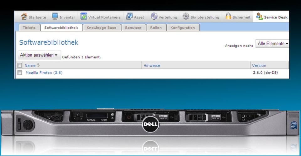 Dell | Softwarebibliothek Mit der Verwaltungs-Appliance Dell Kace K1000 und der Bereitstellungs-Appliance Dell Kace K2000 lassen sich zeitaufwendige manuelle Betriebssystem- und Software-Bereitstellungsaufgaben automatisieren.