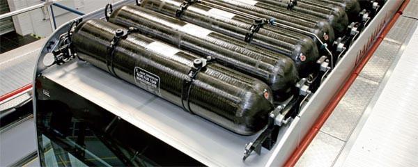 Das Omnibusdach dient als Plattform für die Wasserstofftechnik. Im Bild: das Wasserstoff-Tanksystem.