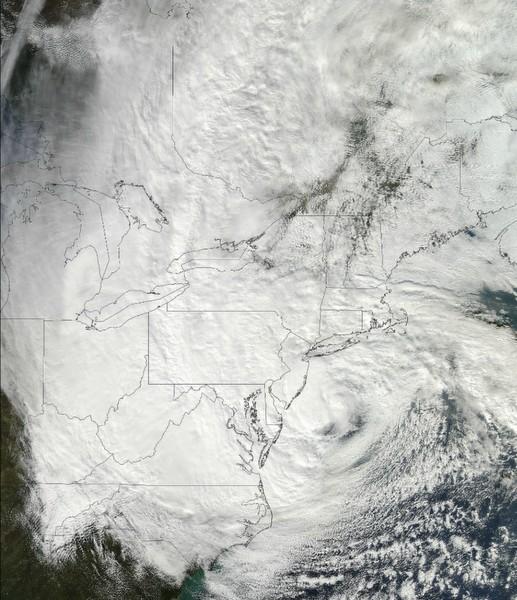 Das Satellitenbild zeigt Sandy über der US-Ostküste