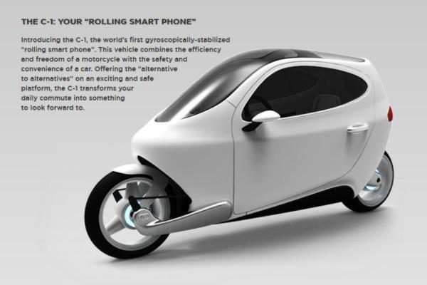 Das C1 von Lit Motors: zwei Gyroskope sorgen dafür, dass der elektrische Zweiradkabinenroller nicht umfallen kann