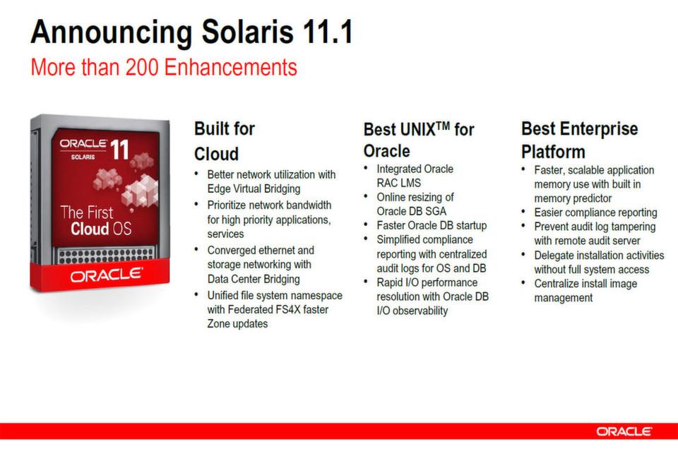 Mit mehr als 200 neuen Features soll Solaris 11.1 aufwarten.