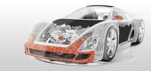 Darstellung von endlosen und geschnittenen Glasfasern in der Autoindustrie.
