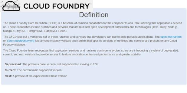 Cloud Foundry Core beinhaltet ein Set von Basiskonfigurationen, mit denen Anwender ihre Instanzen validieren können, so dass sie besser zwischen Clouds portierbar sind.