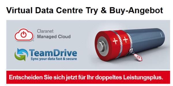 """Iin seiner Herbstaktion """"Try and Buy"""" bis 31. Dezember 2012 bietet Claranet die Managed Cloud Lösung Virtual Data Centre (VDC) plus TeamDrive für einen Monat zum kostenfreien Testen an."""