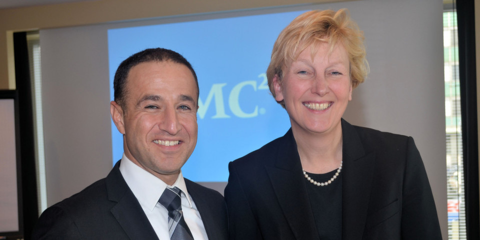 """EMC-Deutschlandchefin Sabine Bendiek und IDC-Geschäftsführer Wafa Moussavi-Amin stellten gemeinsam die """"Digital Universe""""-Studie vor."""