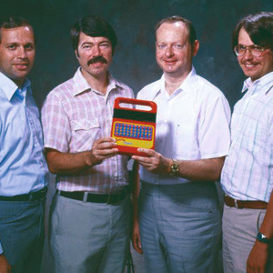 TI's Speak & Spell Team 1978: Gene Frantz, Richard Wiggins, Paul Breedlove, Larry Brantingham (from left to right)