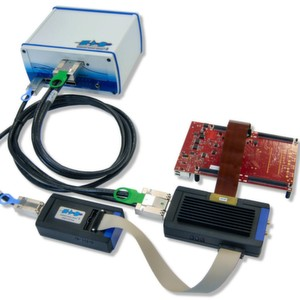 PLS Universal Access Device 3+ (UAD3+): with debug and Aurora trace pods on an Aurix target