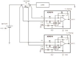 Bild 1: Schaltung zur Überwachung von Lade- und Entladeströmen von Akkus