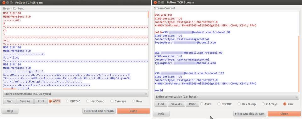 Der Trojaner FAKEM tarnt seinen Datenverkehr (links) als legitimen Messenger-Traffic (rechts).