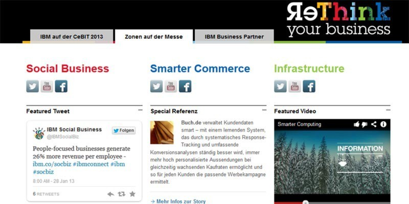"""IBM rückt in Halle 2, Stand A10, das Thema """"Smarter Commerce"""" in den Mittelpunkt. IBM wird mit etwa 130 Demopunkten auf 2.000 Quadratmetern präsent sein."""