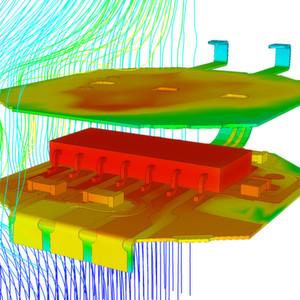 Bild 1: Wärmeverteilung auf einem Flexboard, dargestellt mit dem Simulationsprogramm 6SigmaET