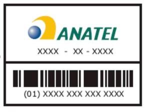 Label von ANATEL: Der BarCode auf dem Label, Typ UCC/EAN-128, wird verwendet, um das Produkt in der ANATEL Datenbank zu verfolgen