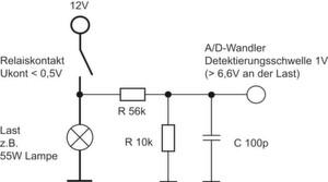 Bild 1: Beispiel einer geeigneten Diagnoseschaltung für Kfz-Relais