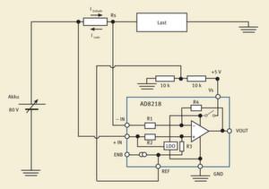 Bild 1: Schaltung zur bidirektionalen, resistiven High-Side-Strommessung, die eine massebezogene, gepufferte Ausgangsspannung liefert