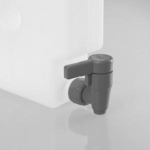 Der Kompakt-Ablasshahn bietet eine hohe Beständigkeit gegenüber Säuren und Laugen.