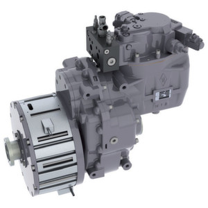 Elektrisch-hydraulisches Hybrid-Getriebe: Die Hydraulik stammt von Sauer Bibus, der Elektromotor von Heinzmann