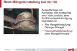 """Beispiel für die neue, seit 1. Juli 2012 gültige einheitliche Einstufung der HU-Mängel – """"Einheitlicher Mängelbaum im Rahmen der 47. Änderungsverordnung der StVZO""""."""
